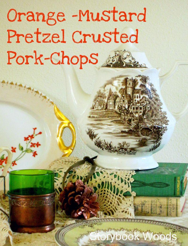 Orange -Mustard Pretzel Crusted Pork-Chops