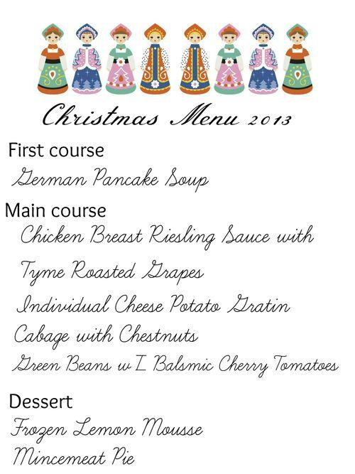 Doll menu dinner