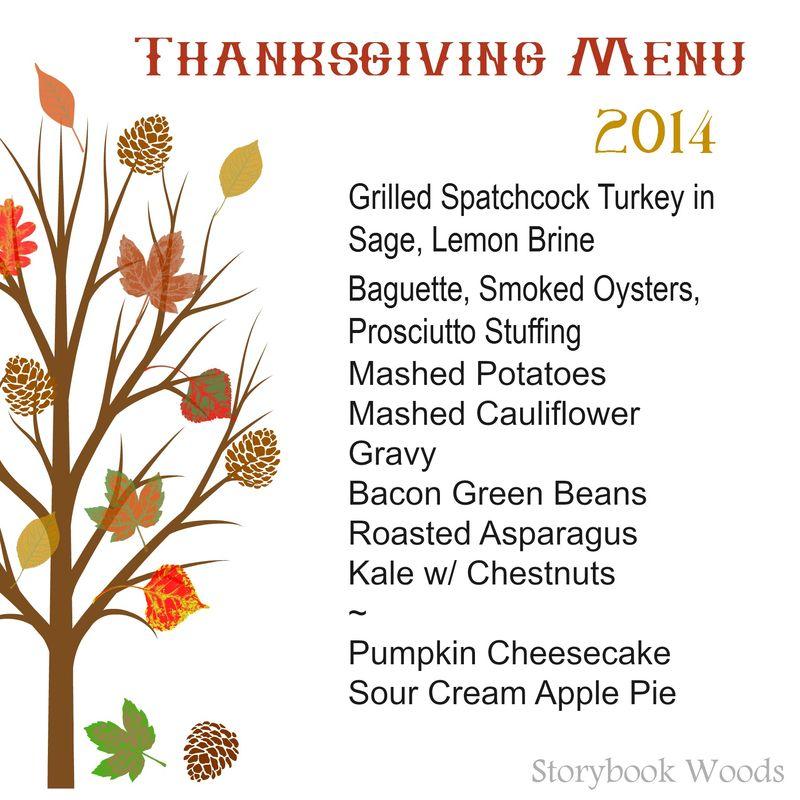 Thanksgiving menu 2014