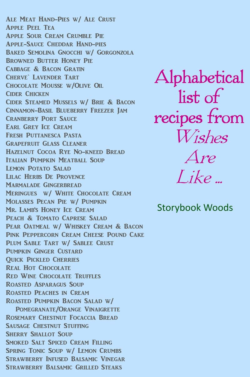 Alphabetical list of recipes from