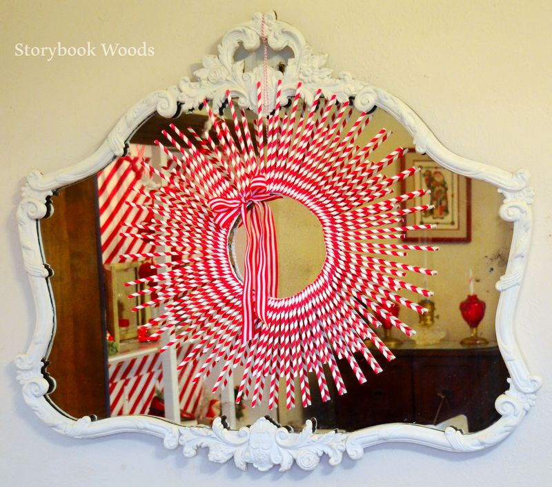 Red and white wreath storybook woods