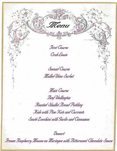 christmas dinner menu storybook woods